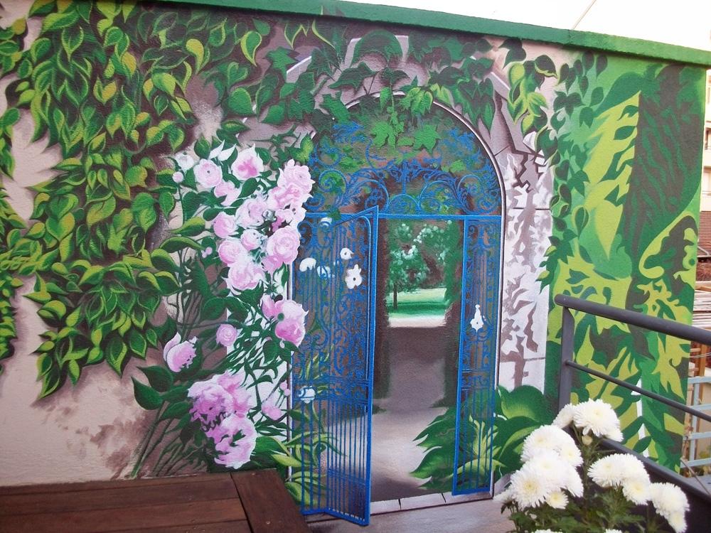 Muret terrasse Trompe-l'oeil  - Lyon - Mars 2017