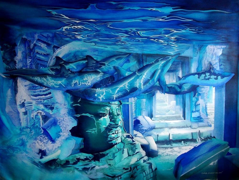 """Toile bleue :""""Cité d'Angkor""""."""