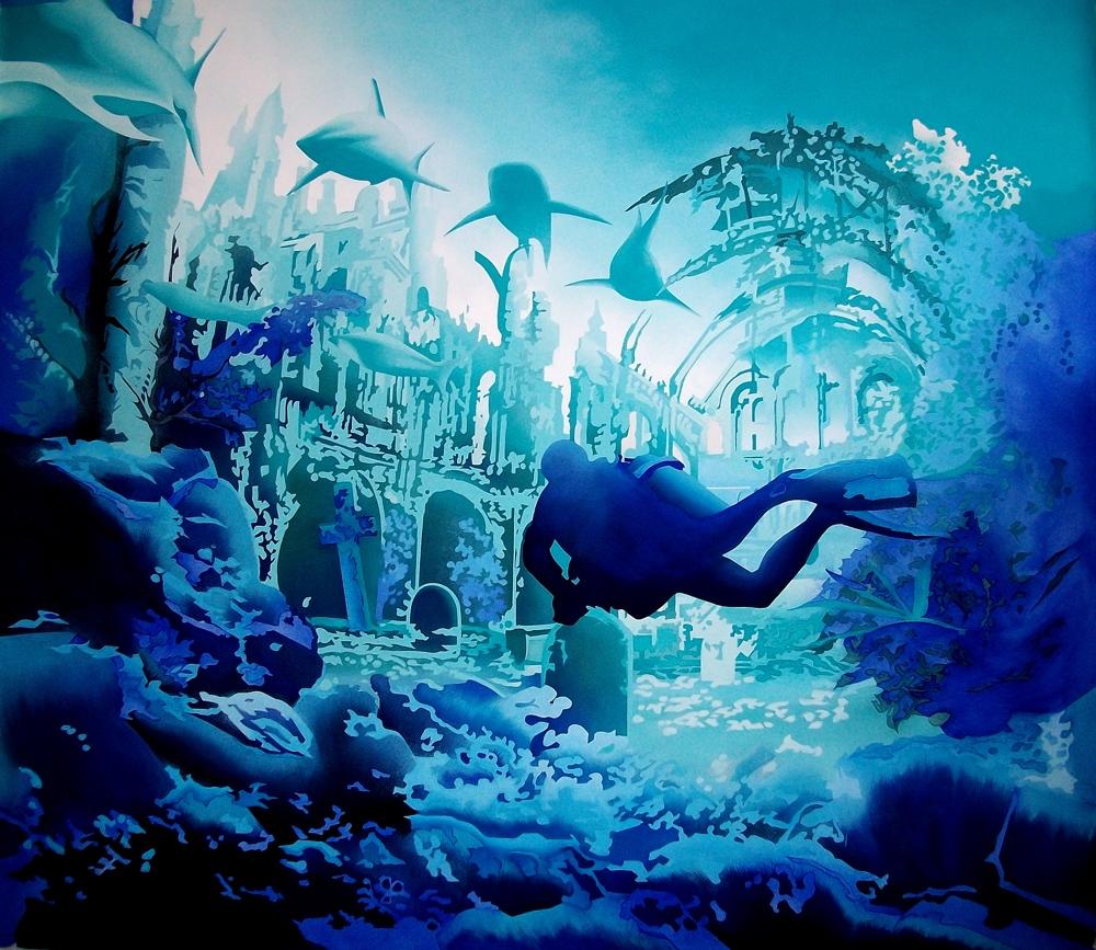 """Toile bleue :""""Le Plongeur""""."""