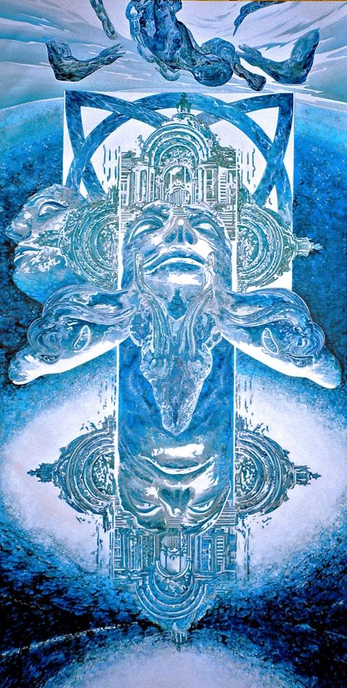 "Toile bleue : ""Le sacrifice""."