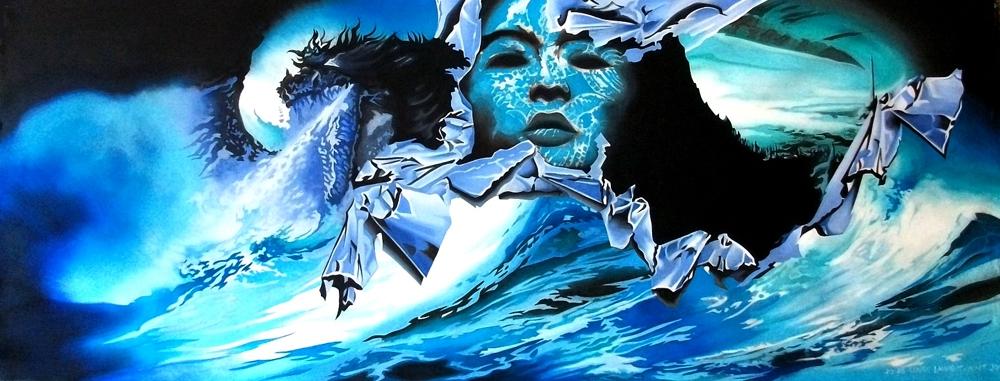 """Toile bleue : """"Tempête en mer""""."""