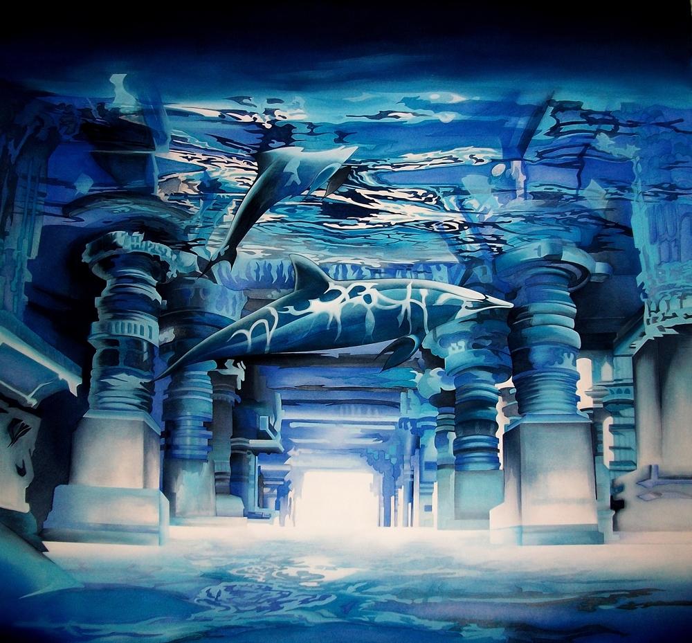 "Toile bleue :""Temple""."