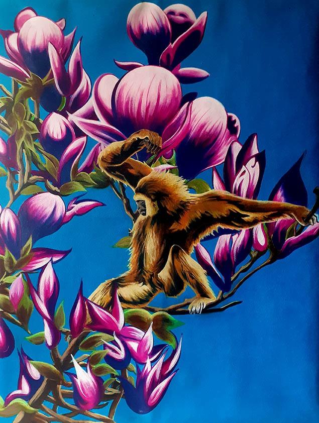Singe dans les magnolias
