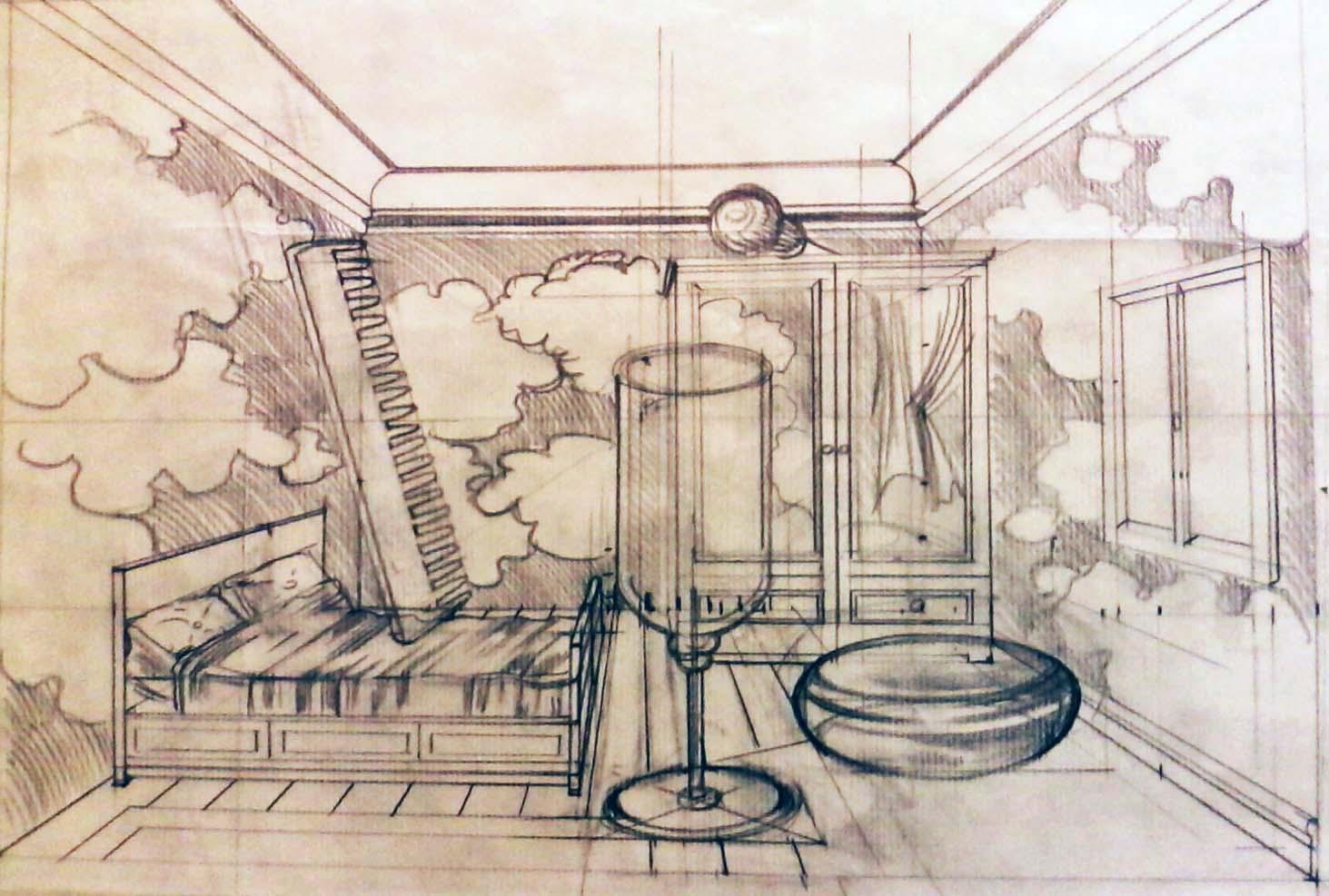 dessin en perspective - copie Magritte